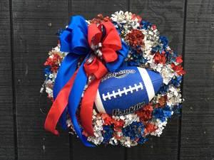 Sat-Oct 03- 2020 ^ 3pm ^ Football Wreath - Patriots Theme